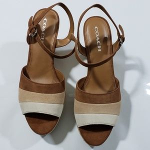 COACH Farren wedge sandal in Brown Leather upper.